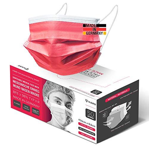 HARD 50x Medizinischer Mundschutz, Made in Germany, OP-Maske TYP IIR, CE zertifiziert EN14683, 99,78% BFE 3-lagig Öko TEX, schützende Mund-Nasen-Bedeckung, Einweg-Gesichtsmasken Erwachsene - Rot