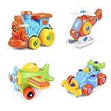 Montage Spielzeug , DIY Demontage Montage Zug Flugzeug Rennwagen Auto Für Jungen Kinder ab 3 Jahre Alt(4 Set)