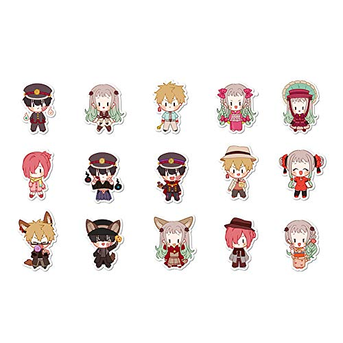 YJacuing Anime Toilet-Bound Hanako-kun Cute Chibi Reusable Vinyl Stickers (15PCS)
