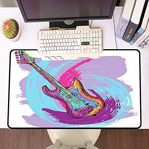 Übergroße Spiel Mauspad -Schreibtischunterlage Large Size,Grunge Hand Drawn E-Gitarre mit bunten gebogenen Grunge-Effekten Modern Music Icon, Rust und Pale,und schnelle Maussteuerung,Gummiunterseite