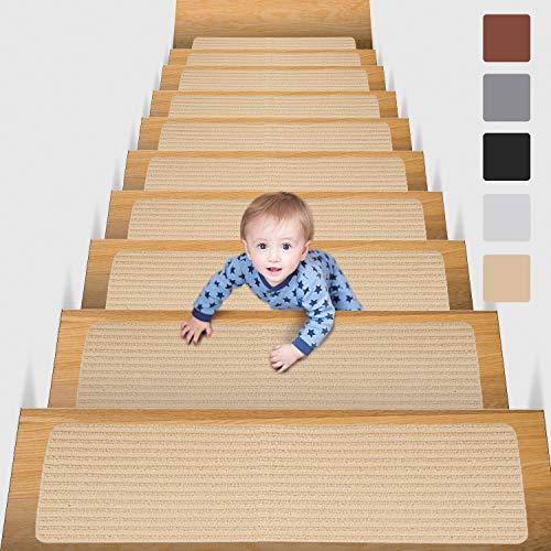 MBIGM 15 Tappetini per Scale (20 x 76 cm) Tappetino Antiscivolo di Sicurezza Runner Interno Antiscivolo per Bambini, Anziani e Animali Domestici con Adesivo Riutilizzabile, Cammello