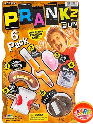 JA-RU Pranks Kit for Kids Gags Toys 6 Different Cool Stuff Scary Prop Set. Party Favor Bag Toy. Prankz Gaging Fun Pranking Kit   Item #6416-1p