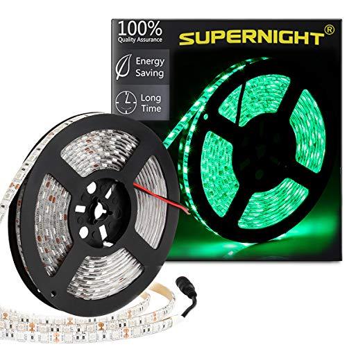 SUPERNIGHT Green LED Light Strip, SMD 5050 16.4ft 5M Led Flexible Ribbon 300 LEDs 60Leds/M Rope Lighting IP65 Waterproof