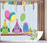Spaß Duschvorhang Geburtstag Dekorationen für Kinder Cartoon Eulen auf Einer Party mit Flaggen Boxen Tupfen Hintergr& Baby Blue Badezimmer 180 × 180 cm