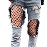 Socken Longra Damen Mädchen Mode Strumpfmode schwarzen elastischen Oberschenkel hohe Strümpfe Strumpfhosen Netzstrumpfhose (B)