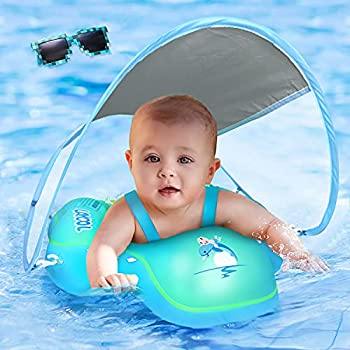 LAYCOL Baby Swimming Float with UPF50+ Sun Canopy Baby Floats for Pool No Flip Overbaby Pool for Baby Age of 3-36 Months  Blue L