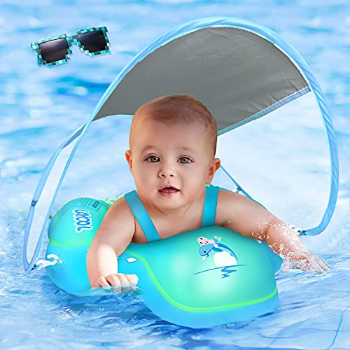 baby pool floats LAYCOL Baby Swimming Float with UPF50+ Sun Canopy Baby Floats for Pool No Flip Overbaby Pool for Baby Age of 3-36 Months (Blue, L)