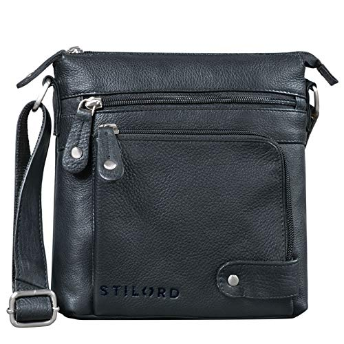 STILORD 'Cameron' Kleine Leder Umhängetasche Vintage Messenger Bag Ledertasche DIN A5 8,4 Zoll Tablettasche Handtasche Cross Body Bag Retro Ledertasche, Farbe:schwarz