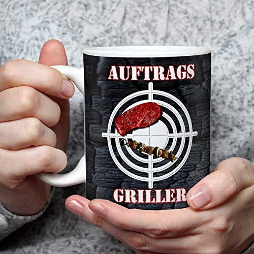 Geschenk Tasse Grill mit Spruch lustig Auftragsgriller Geburtstagsgeschenk für Party Geburtstag Grillfans Männer Freunde Kollegen BBQ Grillparty