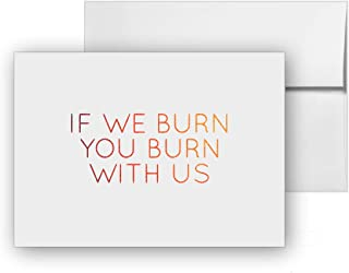 If We Burn You Burn With Us - The Hunger Games, Blank Card Invitation Pack, 15 cards at 4x6, with White Envelopes, Item 1386411