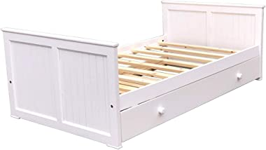 Americas Twin Size Day Bed with Trundle White Wooden Trundle Bed Solid Pine Wood and Hardwood Slats Kids Day Bed Boy Girl Bedroom Furniture Headboard Fully Asembled