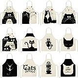 asg Algodón y Lino para la Cocina Creativa artículos para el hogar Lindo Delantal de Gato de Dibujos Animados (12 Unidades)