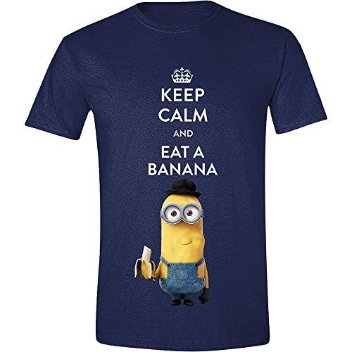 Minions T-Shirt Keep Calm and Eat a Banana Einfach unverbesserlich Kevin Motiv Sommer Mode blau - XL