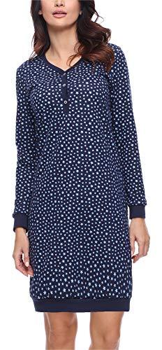 Merry Style Camisón Lencería Sexy Ropa de Cama Mujer MS10-179 (Marino Estrellas, XL)