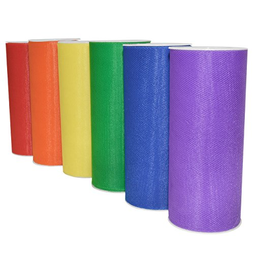 """Rainbow Tulle 6 Pack, Nylon, 6"""" by 150 yd Total, Red/Orange/Yellow/Green/Blue/Purple"""