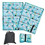 Set di 2 cuscini da seduta impermeabili per esterni, mini tappetini pieghevoli, ultraleggeri, in tessuto Oxford, per campeggio, picnic all'aperto (ghiaccio blu)