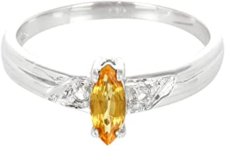 Silvershake Natural Yellow Sapphire and White Topaz White Gold Plated 925 Sterling Silver Ring