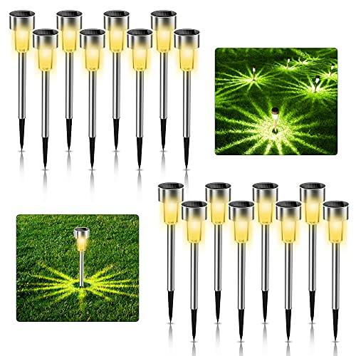 Juego de 16 lámparas solares para jardín, de acero inoxidable, IP65, resistentes al agua