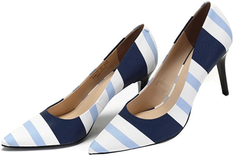 Traumfnger Schne gestreifte Druck High Heels spitzte flachen Mund Sommer Arbeit Schuhe Elegante Bequeme Hochzeit Schuhe (Farbe   Blau, gre   36)