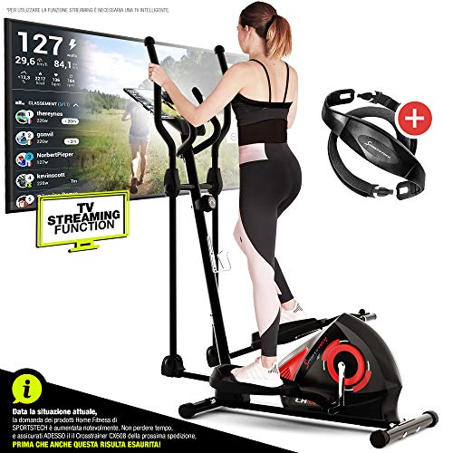 Sportstech Cyclette CX608 Ellittica da Casa | Marca di Qualità tedesca | Eventi Video & Applicazione Multiplayer & Bluetooth | Ergometro da casa con Cardiofrequenzimetro per allenamento Cardio & Supporto Tablet