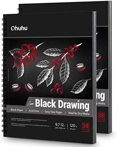 Schwarzes Skizzenpapier 2er Pack, Ohuhu 246 x 305 MM 200 g/m² Schwarzes Zeichenpapier, 76 Seiten Spiralgebundenes Schwergewichtspapier für Gelschreiber, Metallstifte
