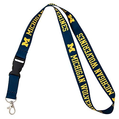 University of Michigan Wolverines UM U of M Car Keys ID Badge Holder Lanyard Keychain Detachable Breakaway Snap Buckle (Blue)