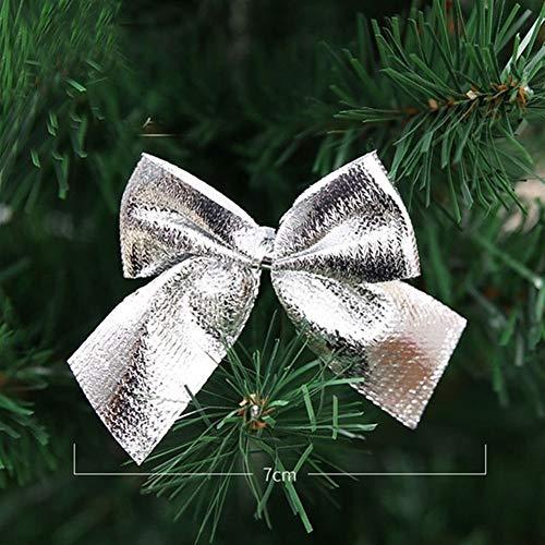 YABAISHI 12pcs Abbastanza Oro Bowknots Natale dell'albero della Decorazione del Partito di Bowknots Baubles Nuovo Anno di Natale di Natale Decorazione for la casa (Color : Silver)