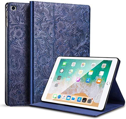 para iPad Mini 5 Funda con Tapa De Piel De Vaca, Diseño De Flor De Cuero Real Funda Magnética para Despertar Automática Y Delgada para Negocios con Forro De Microfibra,Blue