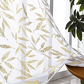 Sheer Curtains 96 Inches Long White Sheer Curtains Leaf Gold Foil Print Drapes for Bedroom Rod Pocket Semi Window Curtain Panels for Living Room White and Gold Curtains Set of 2 52  W x 96  L
