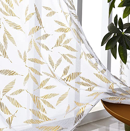 """Sheer Curtains 96 Inches Long, White Sheer Curtains Leaf Gold Foil Print Drapes for Bedroom, Rod Pocket Semi Window Curtain Panels for Living Room, White and Gold Curtains, Set of 2, 52"""" W x 96"""" L"""