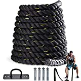 LIFELUM Battle Rope 1.5 Inch Heavy Battle Exercise Training Rope 30 ft Length with Protective Cover Workout Rope 100% Dacron Fitness Rope for Strength Training Home Anchor Kits Included (30.1)