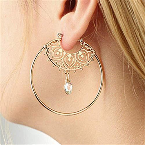 BIGBOBA Damen Einfache Creole Ohrringe Runde Diamant Tropfen Anhänger Ohrstecker Schmuck Anhänger Party Geburtstagsgeschenk für Mädchen, Gold