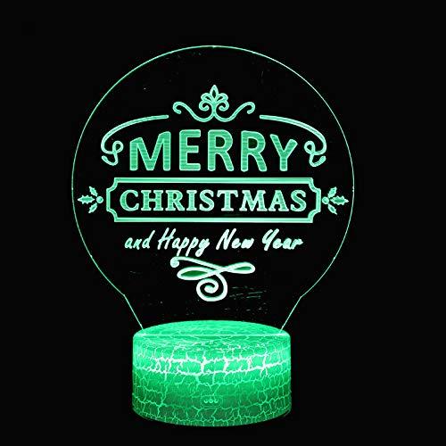 Kerstkaart thema nachtlampje kinderen nachtlampje 3D optische 7 kleuren selecteerbaar dimbare touch schakelaar nachtlamp verjaardagscadeau