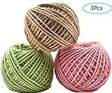Cuerda de yute gruesa color,JEANGO 3 rollos de Cuerda cáñamo de tres capas de alta calidad cuerda de cáñamo natural verde claro rosa cuerda de cáñamo natural adecuada Para decoración