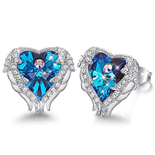 CDE Angel Wing Earrings Women Silver Plated Studs Ear Ring Crystal Heart Ocean Christmas Jewelry Gift for Women Mom