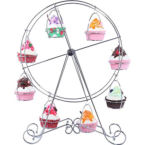 Ferris Wheel Cupcake Stand – Steel Wire Frame Dessert Carrier Display Holder Rack for Carnival & Circus Party, Birthday, Wedding – Holds 8 Cupcakes, 17 Inches