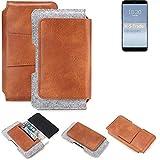 K-S-Trade Schutz Hülle Für Meizu 15 Plus Gürteltasche Holster Gürtel Tasche Schutzhülle Handy Smartphone Tasche Handyhülle PU + Filz, Braun (1x)