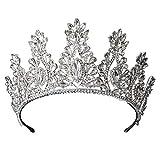 MLDSJQJ Corona de Cristal Plateado Boda Nupcial Accesorios para el Cabello Banquete de cumpleaños Tocado Diosa Fotografía de Viaje Diadema,