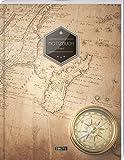 """TULPE Liniertes Notizbuch A4 """"C017 Reisen"""" (140+ Seiten, Vintage Softcover, Doppelrand, Seitenzahlen, Register - Dickes Notizheft, Deutschheft, Schreibheft, Schulheft, Tagebuch, Lineatur 27)"""