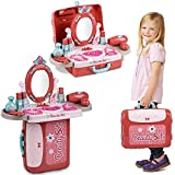 Toy Pretend Beauty Playset, Makeup Vanity Carry Case with Mirror Cosmetic Toy Set, Pretend Beauty Dress-up...