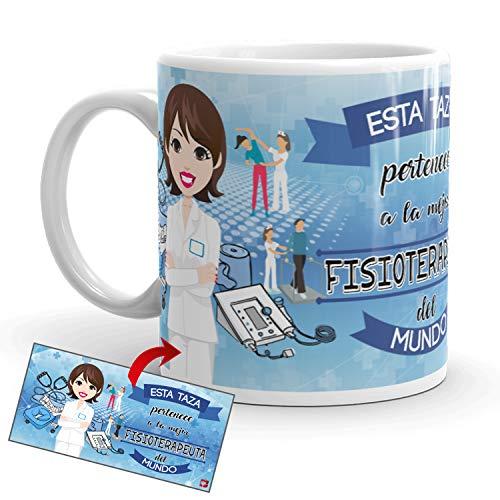 Kembilove Taza de Café del Mejor Fisioterapeuta del Mundo – Taza de Desayuno para la Oficina – Taza de Café y Té para Profesionales – Taza de Cerámica Impresa – Tazas de Jefe de 350 ml