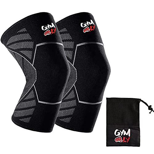 GYM.LY® Kniebandage für Männer und Frauen | EXTRA RUTSCHFEST | Bandagen zum Joggen & Sport | Schutz und Knie Stabilisator| 2 mal 2 Anti-Rutsch-Silikon-Wellen | inkl. Tasche (XL, schwarz/weiß)
