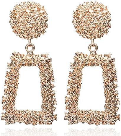 Chunky Square Rectangle Dangle Clip on Earrings Boho Large Drop Non Pierced Ears Hoop for Women Girls Gifts Bridal Wedding Chandelier Dangling