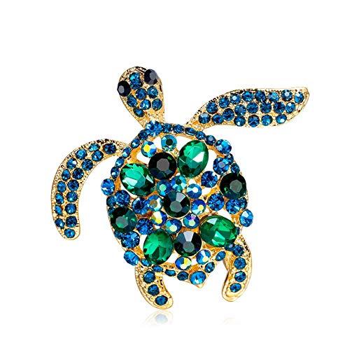 AILUOR Unisex Vintage Schildkröte-Brosche, Mode Strass-Kristall-Große Schildkröte-Broschen Schmuck Geschenke blau-a Einstellbar