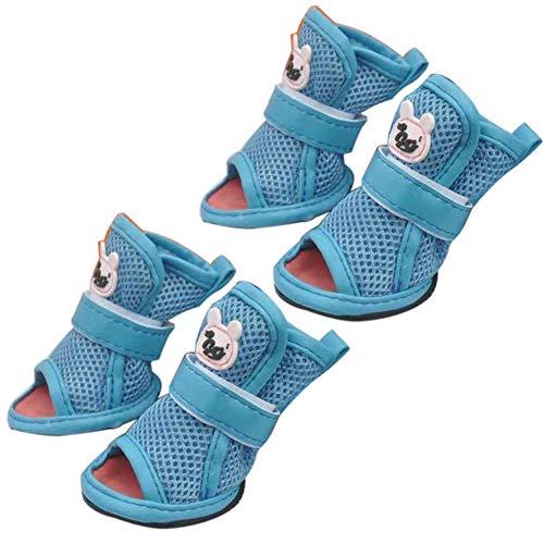Lai-LYQ Beschermende Hondenlaarzen, 4 Stks Mode Zomer Zacht Ademend Anti-Skid Huisdier Schoenen Sandalen, Met Slijtvaste Zool, Geschikt voor Puppy tot Medium, 4#*, Blauw