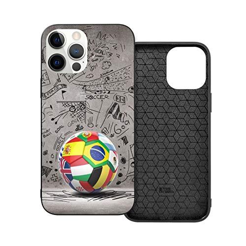 Compatible con iPhone 12, fundas de fútbol para iPhone 12 Pro para hombres y niños, patrón de protección contra caídas con funda de TPU suave para un iPhone 12 funda de 6.1 pulgadas
