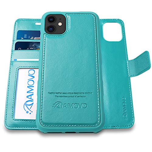 AMOVO Case for iPhone 11 (6.1'') [2 in 1] iPhone 11 Wallet Case Detachable [Vegan Leather] [Hand Strap] [Kickstand] iPhone 11 Flip Folio Case with Gift Box Package (iPhone 11 (6.1''), Aqua)