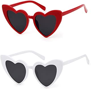 Love Heart Shaped Sunglasses Women Vintage Cat Eye Mod Style Retro Glasses