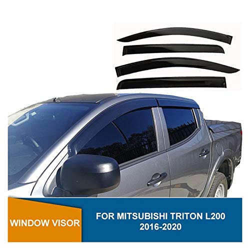 Windabweiser Für Mitsubishi Triton L200 2016 2017 2018 2019 2019 2020 Fenster Schild Schwarz Side Fenster Deflectors Sun Rain Guards Autofenster Visier