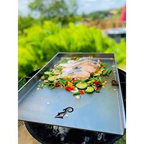 ZIEGER 10007089 Grillplatte 45 x 34 cm Universal Edelstahl Grillplatte BBQ Plancha Grillaufsatz
